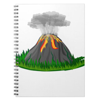 volcano eruption and fire spiral notebook