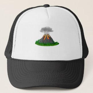 volcano eruption and fire trucker hat