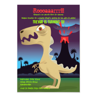 "Volcano Eruption Dinosaur Birthday Party Invites 5"" X 7"" Invitation Card"