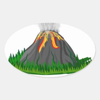 volcano fire eruption oval sticker