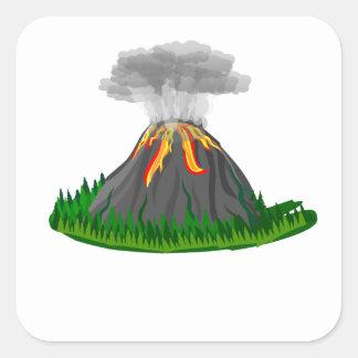 volcano fire eruption square sticker