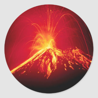 Volcano Hot Lava 1991 Costa Rica Classic Round Sticker