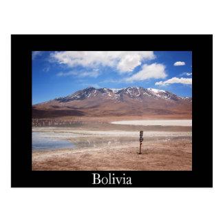 Volcano in an Altiplano landscape black postcard