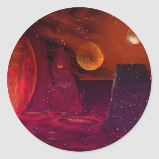 Volcanoes on Mars Classic Round Sticker