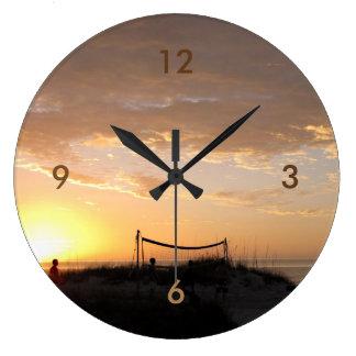 Volleball Beach Sunset Large Clock