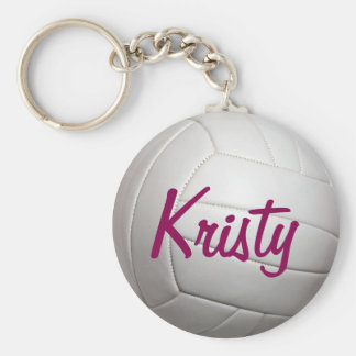 Volley Ball Volleyball Sports Name Basic Round Button Keychain