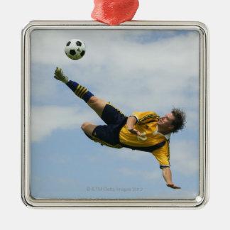 Volley kick 2 metal ornament