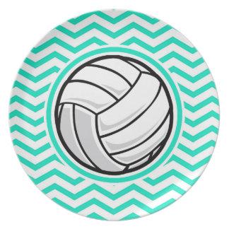 Volleyball Aqua Green Chevron Party Plate