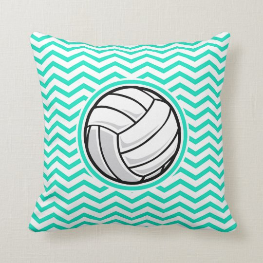 Volleyball; Aqua Green Chevron Throw Pillow