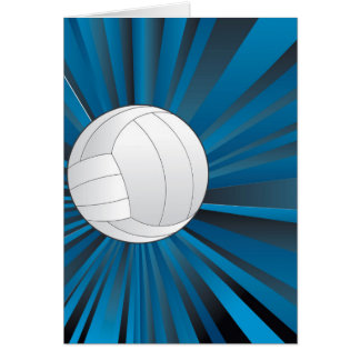 Volleyball Ball on Rays Background Card