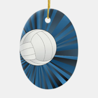 Volleyball Ball on Rays Background Ceramic Oval Ornament