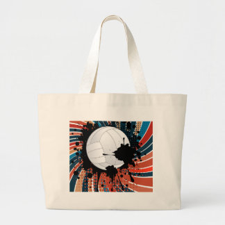 Volleyball Ball on Rays Background Large Tote Bag