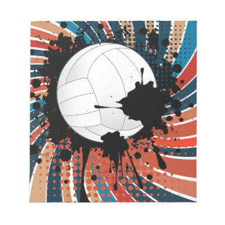 Volleyball Ball on Rays Background Notepad