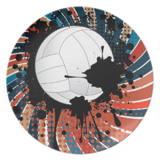 Volleyball Ball on Rays Background Plate