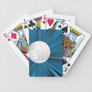 Volleyball Ball on Rays Background Poker Deck