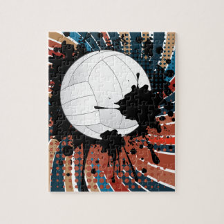 Volleyball Ball on Rays Background Puzzles