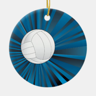 Volleyball Ball on Rays Background Round Ceramic Ornament