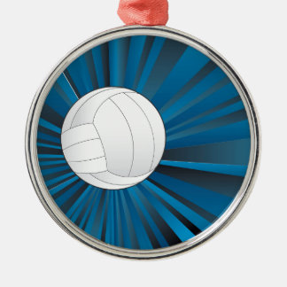 Volleyball Ball on Rays Background Silver-Colored Round Ornament