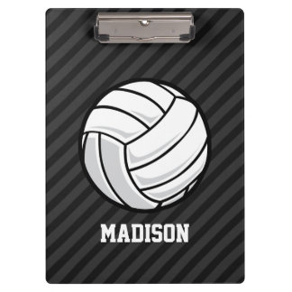 Volleyball; Black & Dark Gray Stripes Clipboard