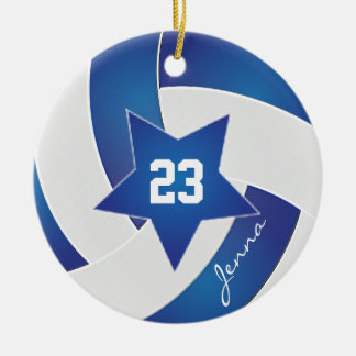 Volleyball blanc et bleu d'All Star Ornement Rond En Céramique