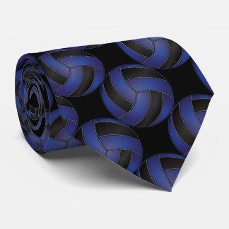 Volleyball bleu-foncé et noir sportif cravate personnalisée