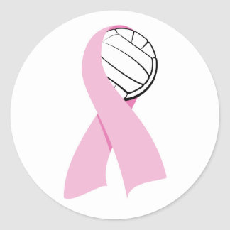 Volleyball Breast Cancer Classic Round Sticker