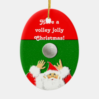 Volleyball Christmas Ceramic Oval Ornament