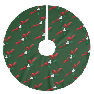 Volleyball Christmas Holly Brushed Polyester Tree Skirt