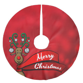 Volleyball Christmas Reindeer Brushed Polyester Tree Skirt
