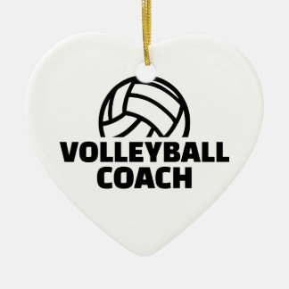 Volleyball coach ceramic heart ornament
