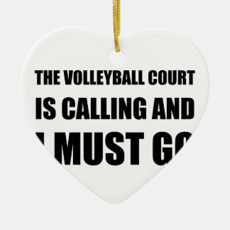 Volleyball Court Calling Must Go Ceramic Heart Ornament