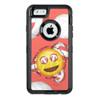 volleyball court happy place smiley emoji OtterBox defender iPhone case
