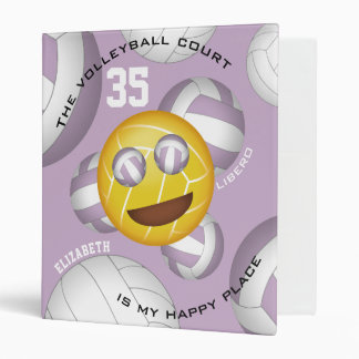 Volleyball court happy place smiley vball emoji binders