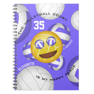Volleyball court happy place smiley vball emoji notebook