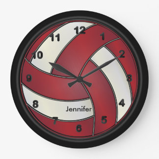 Volleyball | Dark Red and White Style Large Clock