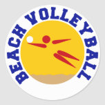 Volleyball de plage autocollant rond
