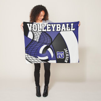 Volleyball Design - Blue, White, Black Fleece Blanket