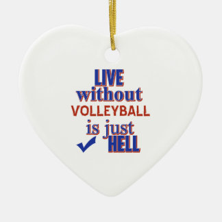 VOLLEYBALL DESIGn Ceramic Heart Ornament