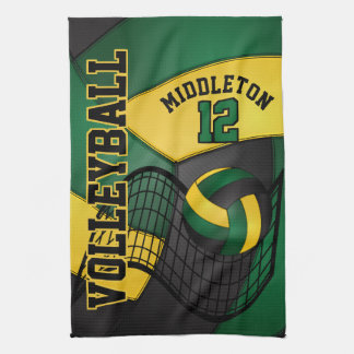 Volleyball Design - Green, Gold, Black Hand Towel