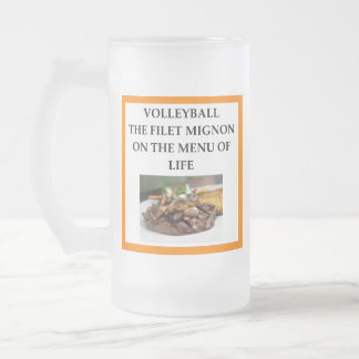 volleyball frosted glass beer mug