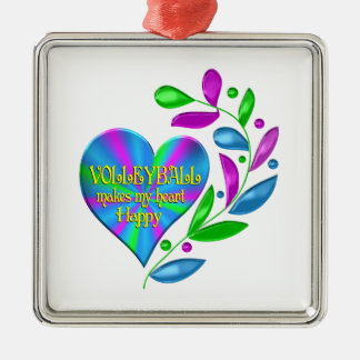 Volleyball Happy Heart Silver-Colored Square Ornament