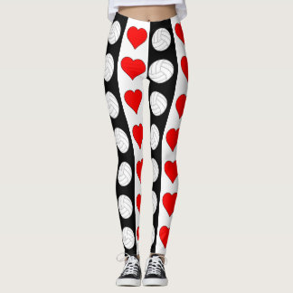 Volleyball Heart Black White & Red Contrast Pants