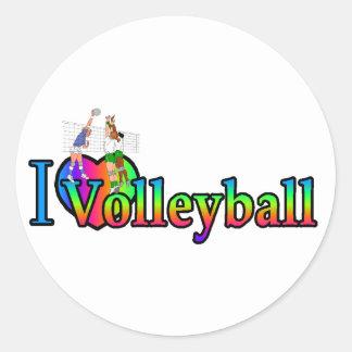 volleyball i heart round sticker