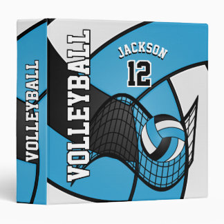 Volleyball in Baby Blue, Black and White Binder
