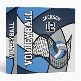 Volleyball in Blue, Dark Blue, Gray and White Vinyl Binder