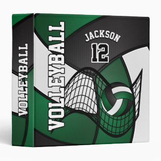 Volleyball in Dark Green, Black and White Binder