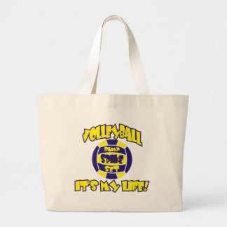 VOLLEYBALL IN GOLD AND ROYAL ON WHITE products Large Tote Bag