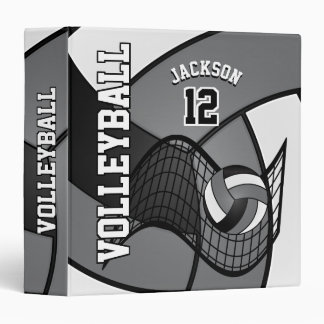 Volleyball in Gray, Black and White Vinyl Binders