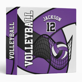 Volleyball in Purple, Black and White Vinyl Binder