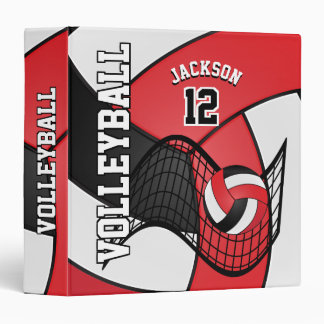Volleyball in Red, Black and White Vinyl Binders